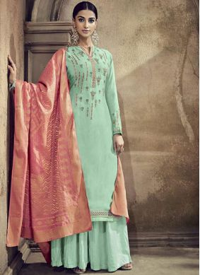 Designer Palazzo Suit Embroidered Viscose in Sea Green