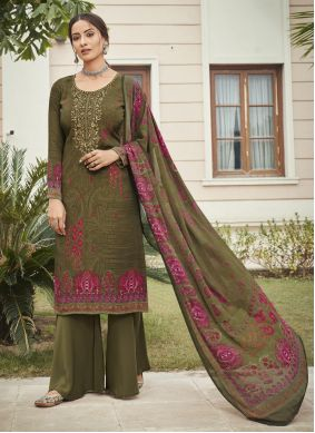 Green Designer Palazzo Suit For Festival
