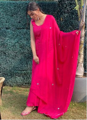 Hot Pink Designer Palazzo Suit For Festival