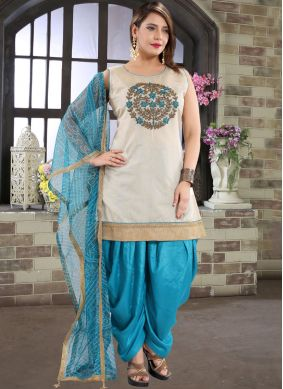 Designer Patiala Suit Embroidered Chanderi in Blue