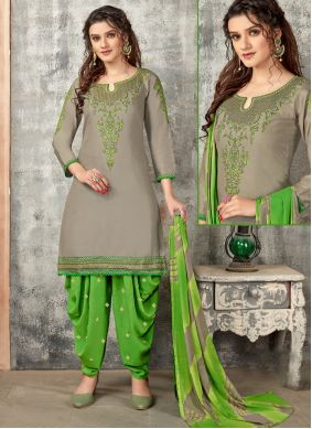 Grey Designer Patiala Suit For Festival