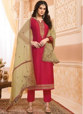 Designer Salwar Kameez Embroidered Georgette Satin in Red