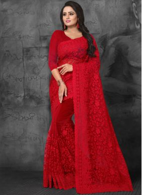 Designer Saree Embroidered Net in Red