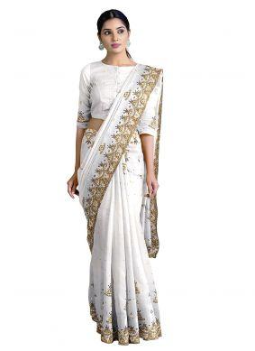 Designer Saree Handwork Georgette in Off White