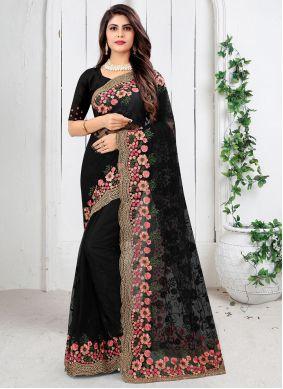Designer Saree Resham Net in Black