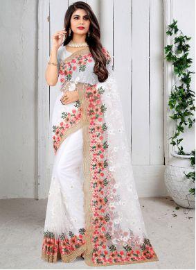 Designer Saree Resham Net in Off White