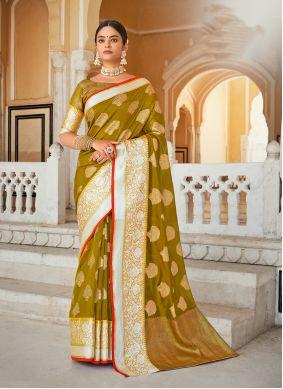 Designer Saree Weaving Organza in Green