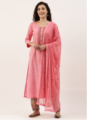 Pink Designer Straight Suit For Casual