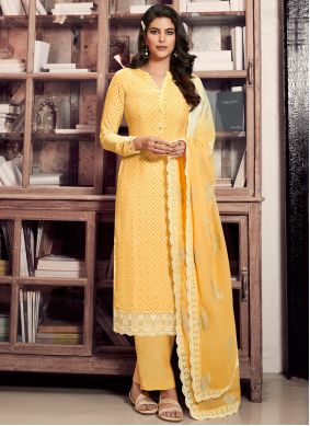 Designer Straight Suit Print Faux Crepe in Yellow