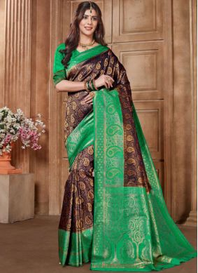 Designer Traditional Saree Embroidered Art Silk in Purple