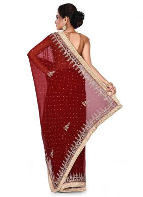 Designer Traditional Saree Embroidered Faux Georgette in Maroon