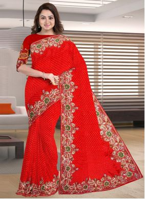 Designer Traditional Saree Embroidered Jacquard in Red