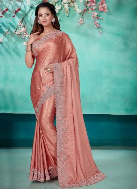 Designer Traditional Saree Embroidered Shimmer Georgette in Peach