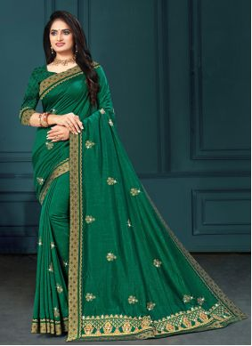 Designer Traditional Saree Embroidered Silk in Green