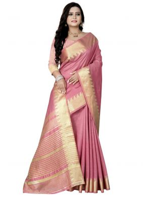 Pink Art Silk Traditional Saree For Festival