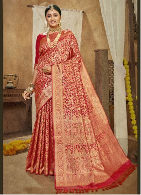 Designer Traditional Saree Weaving Banarasi Silk in Red
