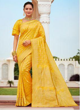 Designer Traditional Saree Weaving Banarasi Silk in Yellow