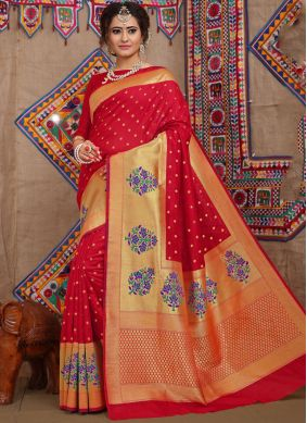 Designer Traditional Saree Weaving Fancy Fabric in Red