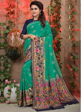 Designer Traditional Saree Weaving Fancy Fabric in Sea Green