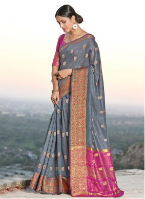 Designer Traditional Saree Weaving Handloom Cotton in Grey