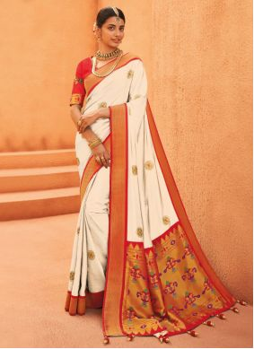 Designer Traditional Saree Weaving Silk in Off White and Red