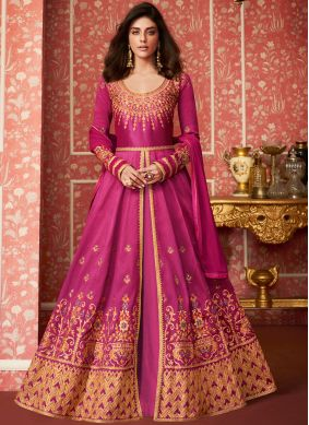 Desinger Anarkali Salwar Suit Embroidered Silk in Magenta