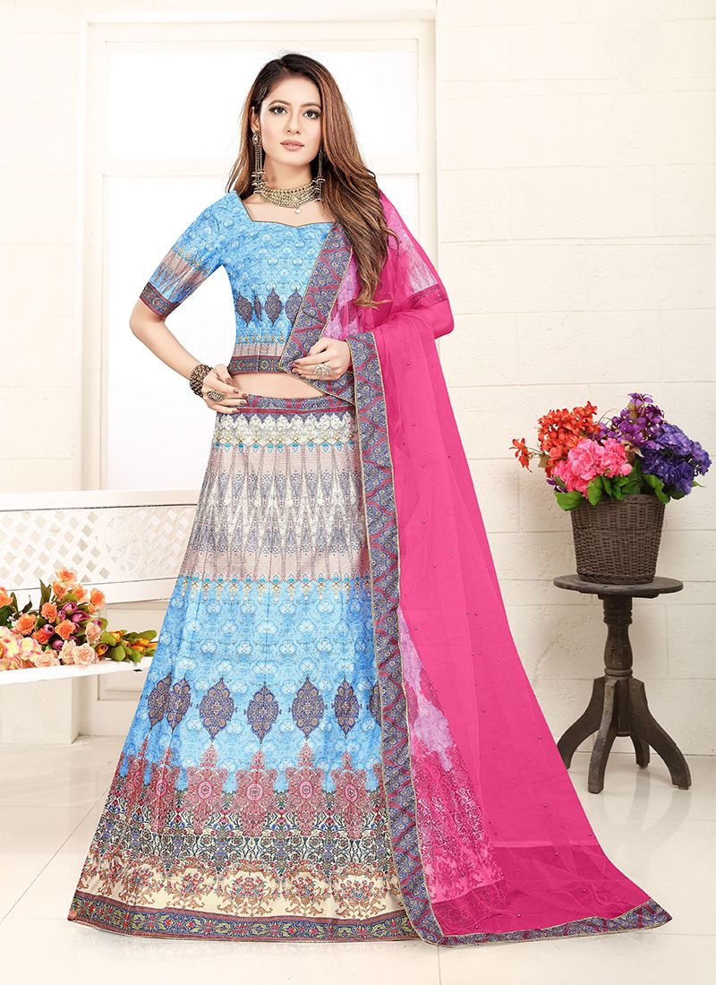 Desirable Blue Art Silk Lehenga Choli