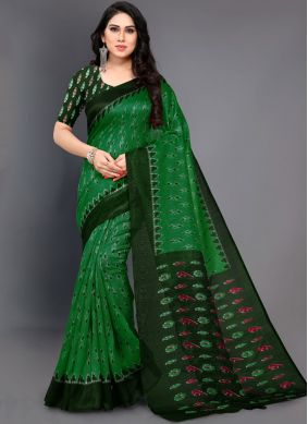 Desirable Green Abstract Print Casual Saree