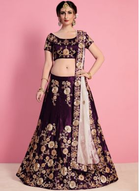 Desirable Purple Patch Border Work Velvet Lehenga Choli
