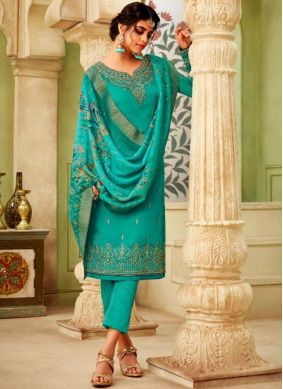 Desirable Sea Green Festival Pant Style Suit