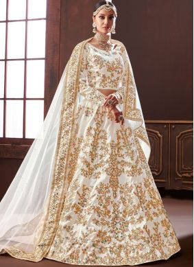 Desirable Silk Embroidered Off White Designer Lehenga Choli