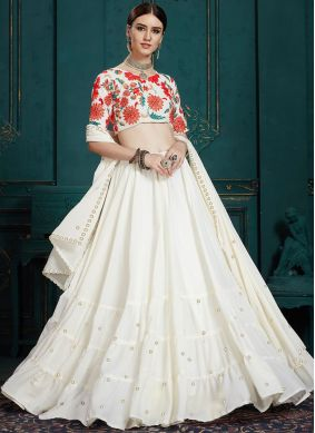 Desirable White Sequins Faux Georgette Trendy A Line Lehenga Choli