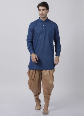 Dhoti Kurta Plain Blended Cotton in Navy Blue