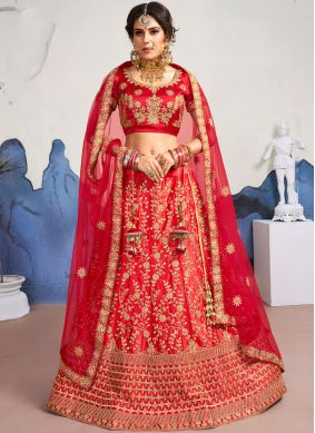 Diamond Satin Silk Designer Lehenga Choli in Red