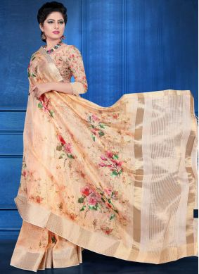 Digital Print Art Silk Printed Saree in Peach