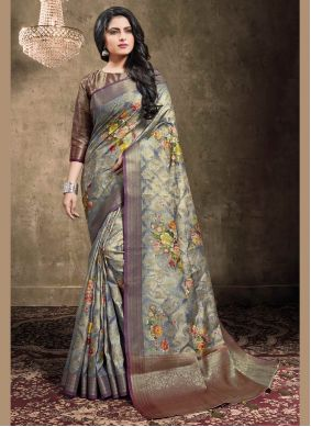 Digital Print Blue Bollywood Saree