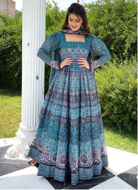 Digital Print Chanderi Blue Floor Length Designer Suit