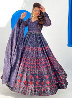 Digital Print Chanderi Floor Length Designer Suit