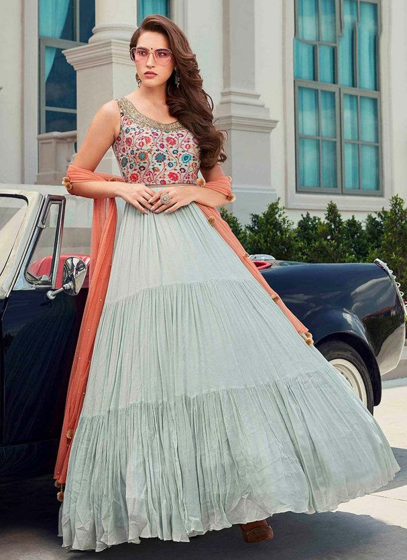 Digital Print Faux Georgette Readymade Gown in Grey