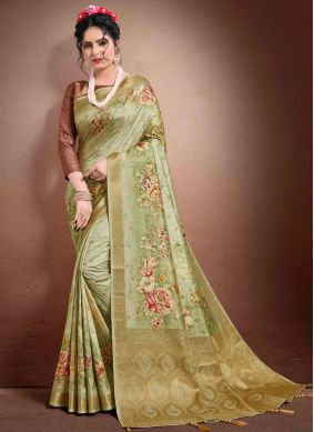 Digital Print Georgette Designer Saree in Green