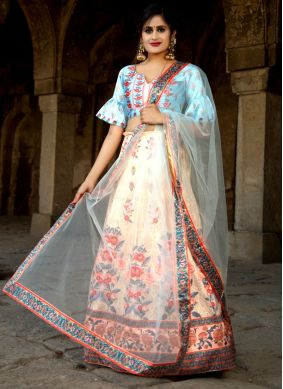 Digital Print Net Trendy Designer Lehenga Choli in Multi Colour