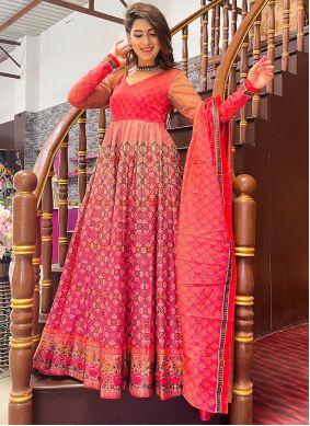 Digital Print Pink Chanderi Floor Length Designer Suit