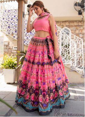 Digital Print Pink Chanderi Lehenga Choli
