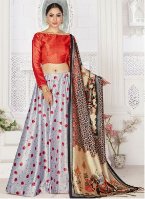 Digital Print Sangeet Grey Readymade Lehenga Choli