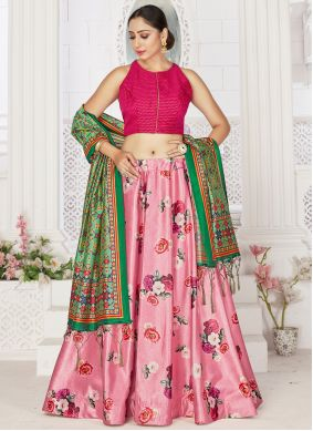 Digital Print Satin Pink Readymade Lehenga Choli