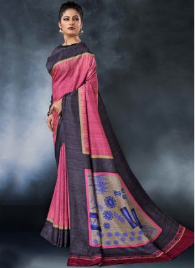 Digital Print Tussar Silk Printed Saree in Pink
