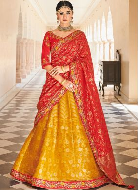 Dignified Embroidered Art Silk Mustard Lehenga Choli
