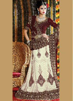 Dignified Embroidered Faux Georgette White Lehenga Choli