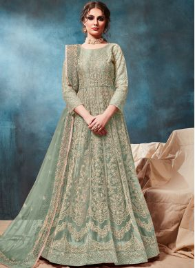 Dignified Net Sea Green Embroidered Trendy Anarkali Salwar Kameez