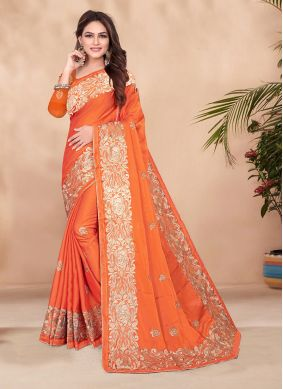 Dignified Orange Festival Designer Saree